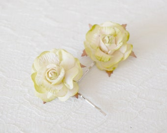 Rose Hair Clips, wedding hair accessories, bridal hair clips, green rose pins, flower hair clips, rose bobby pins - set of two