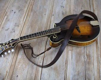 MS50 Brown Leather Mandolin Strap,  Bluegrass Mandolin Strap, full grain leather, gift for mandolin player.