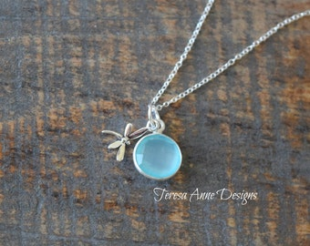 Sterling Silver Dragonfly and Faceted Chalcedony Necklace