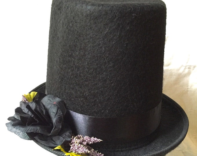 Holiday top hat, Felt top hat, Steampunk, Victorian, Mad hatter, Stovepipe Stevie Nicks inspired, Cosplay, Alice in Wonderland, Halloween, W