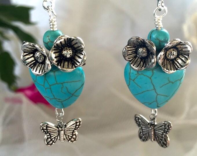 Turquoise howlite heart, valentine jewels, southwestern valentines,
