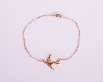 Pretty Bracelet Rose Golden Bird  Chain Plated Birdy Rose Gold Plated Swallow Rosegold Jewelry