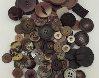 ON SALE Collection of Vintage Butttons-Various Materials-Tweed, Leather, Celluloid. Browns, Earth Tones, Taupes