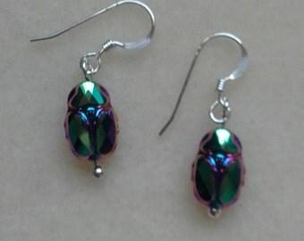 Hand made Scarab beetle  swarovski crystal earrings on sterling silver wires