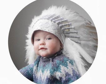 PRICE REDUCED - N02- For 9 to 18 month Toddler / Baby : White  Headdress for the little ones !