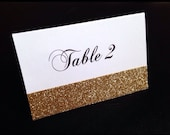 Custom Listing for Lisa - 22 White Matte Printed Folded Table Number Card with Gold Glitter Accent