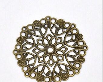 5 pcs 35mm Brass Filigree pendant connector charms, round filigree, antique brass, bronze, USA