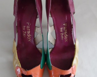 Vintage Late 1980s Early 1990s Designer Shoes, Color-Blocked, Cut-Out Leather Court Shoe, Pumps, from Paradox by Zalo.