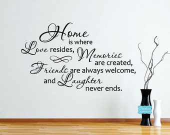 Home is where love resides, memories ... Family Wall Decal | Wall Art | Vinyl Lettering | Large Wall Decals | Gift for Her -CE129