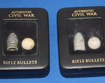 CIVIL WAR Set of Two Authentic Bullet Displays with COAs
