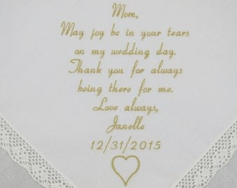 Hankerchief for Mother of the Bride Wedding Gift Mom Wedding Handkerchief Custom Embroidered Handkerchief Personalized by Napa Embroidery