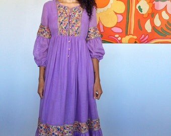 1960's/70's Lavender Cotton Crepe Gown with Embroidery Details