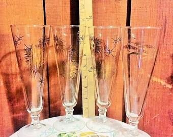 4 Pilsner pedestal bar glasses