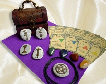 WICCAN ALTAR KIT chest beginners witches starter set compact mini small travel wicca choice of colors