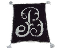 Monogram Baby Blanket, Personalized C2C Afghan, Graphghan, Baby shower gift, Edwardian Initial