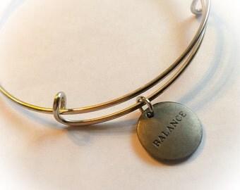 Balance, balance bangle, balance charm, balsnce bracelet, inspirational bangle, inspirational