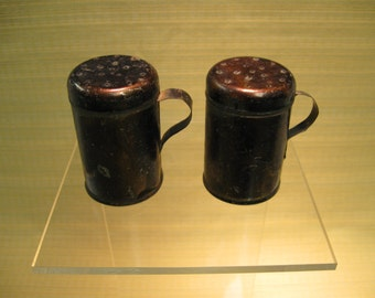 Antique Salt & Pepper Shakers - Japanned Tin Finish - Circa 1850s