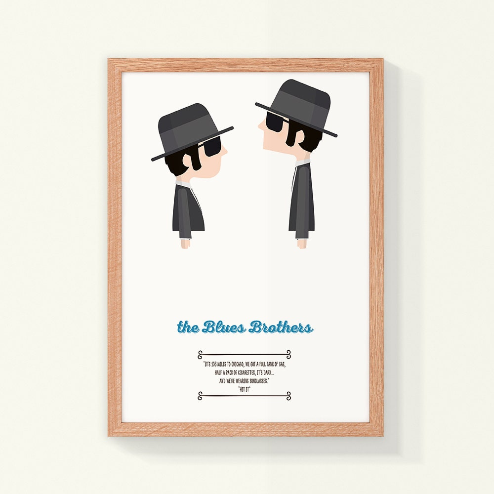 106 Miles To Chicago Blues Brothers Quote: Illustration The Blues Brothers Quote. Movie By MadCatFineArt