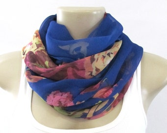 Fashion Scarves Royal Blue Yellow Pink Floral Scarf