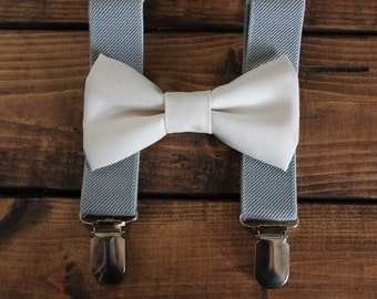 Bowtie & Suspenders- Ivory and Gray