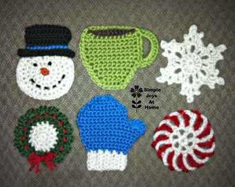 Mix and Match Winter/Holiday Coaster Set - Pick Any 4 Pictured To Make Your Set - Snowman, Wreath, Coffee Cup, Snowflake, Peppermint, Mitten