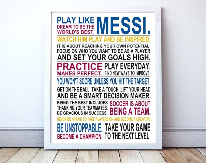 Play Like Messi -  Inspirational Manifesto Poster Print | Lionel Messi