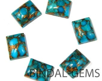 5 Pieces Blue Copper Turquoise Octagon Shape Loose Smooth Polished Gemstone
