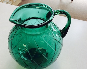 Gorgeous emerald glass pitcher!