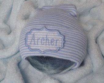 Newborn Boy Hospital Hat. Baby Boy Hospital Beanie. Personalized Newborn Hat. Newborn Name Hat