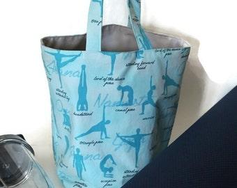 Yoga poses cotton print small tote bag. Blue. Yoga theme gift idea.