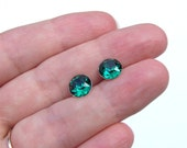 Emerald Green Swarovski Crystal Stud Earrings ~ Bridesmaid Earrings ~ Green Crystal Earrings