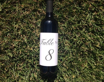 Wedding Wine Bottle Table Number Stickers | Calligraphy Table Number | Wedding Wine Bottle Table Number Centerpiece Event Gala Table No