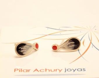 Drop stud earrings -  Sterling Silver Ear Studs - Red Black - Black  earrings -  Spring - Summer  - Valentine's Day