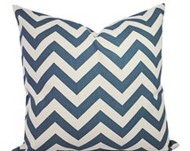 15% OFF SALE Two Chevron Decorative Pillow Covers - Blue and Cream Pillow Covers - Rustic Pillows - Natural Pillow Cover - Denim Blue Pillow