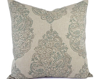 Taupe and Blue Decorative Pillow Covers - Two Floral Throw Pillow Covers - Blue Pillow - Spa Blue Pillow - Floral Pillow Sham