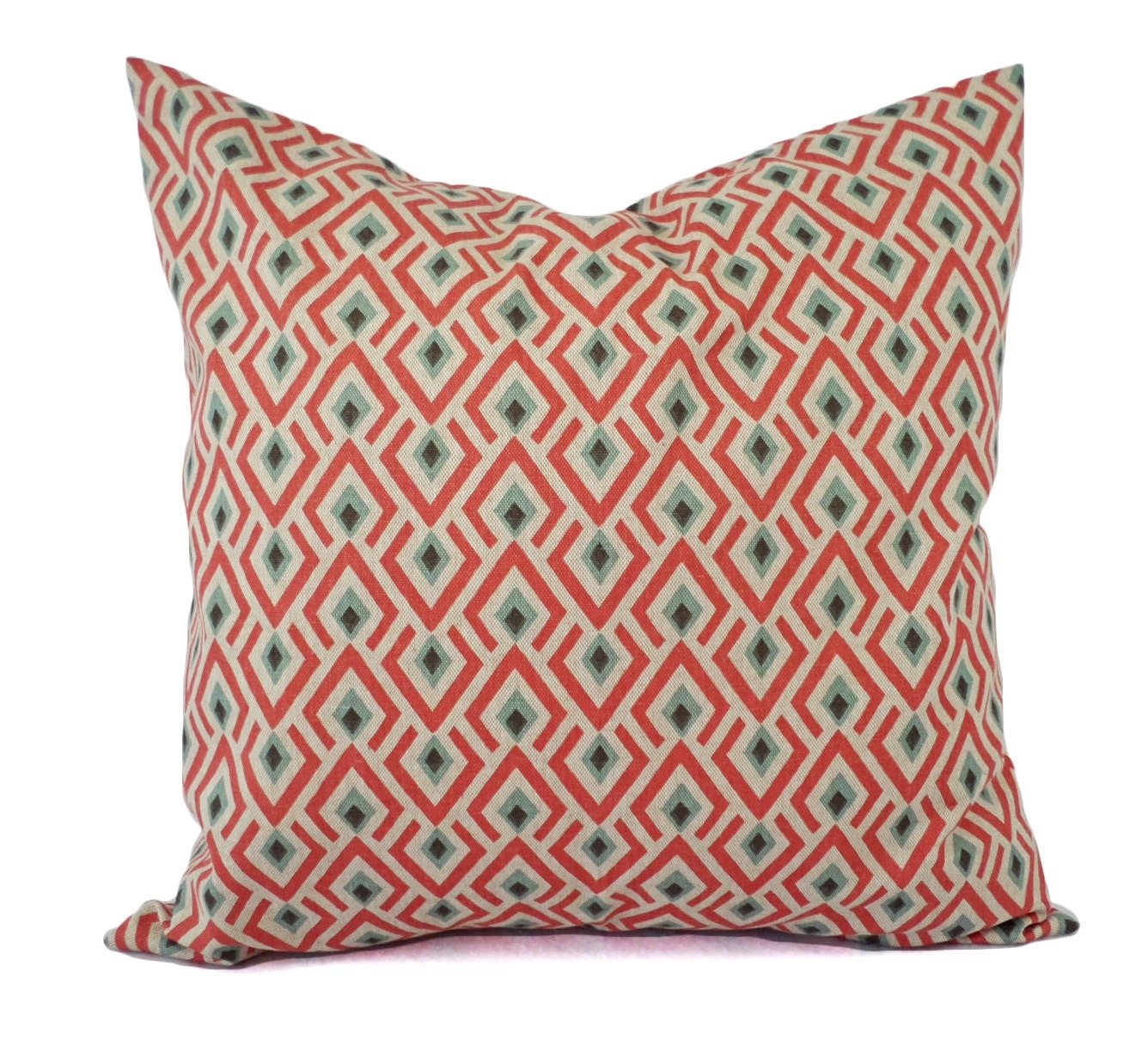 Two Orange Brown and Blue Decorative Pillow Covers Two