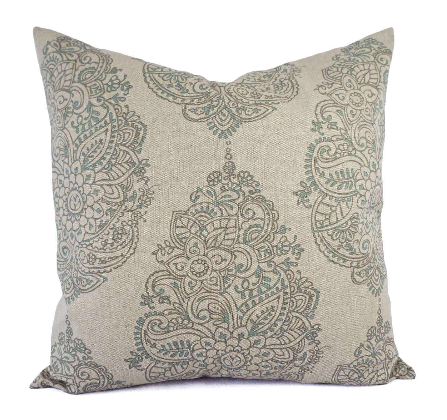 Taupe and Blue Decorative Pillow Covers Two Floral Throw