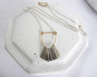 ARC FRINGE NECKLACE - Silver and Gold Fringe Necklace - Hammered Fringe Necklace