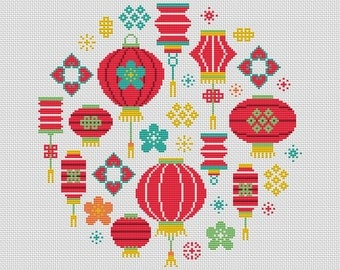 KIT - Chinese Lanterns Cross Stitch Kit - Complete Charted Kit - Modern Design - Oriental New Year