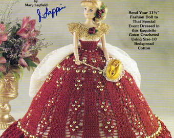 Beaded Ball Gown for your Barbie Size Fashion Doll, Crochet Pattern using Size 10 bedspread Cotton,