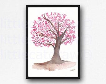 Cherry Blossom Print Sweet Cherry Blossom Tree Watercolor Painting Print Watercolour Wall Art Watercolor