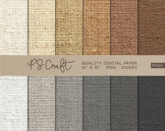 Burlap Digital Papers, Natural Burlap Pattern,  Fabric Papers