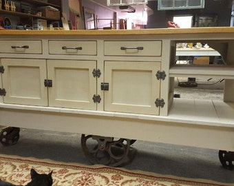"72""x 24"" Steampunk Industrial Kitchen Island with Drop Leaf Top"