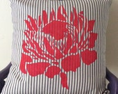 Protea Pillow Cover - Red Protea on Blue Ticking - Accent Pillow - Cushion Cover-Throw Pillow