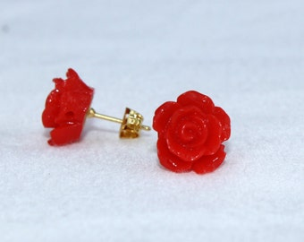 Elegant red rose stud earrings fashion post earrings cosplay costume accessory simple evening wear club dance design by fancycosplay