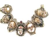Seven Lucky gods 七福神 Shichi Fukujin Porcelain Enamel Gold Tone Bracelet -Seven Immortal gods  Of Fortune  - Seven gods of Japan
