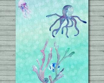 Sealife Printable Nursery Ocean Printable Nursery Print Children's Decor Nautical Nursery Octopus Watercolor 5x7 8x10 11x14 Photo Prop