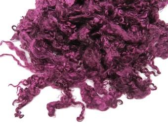 1 oz Premium Kid Mohair wool locks , Deep Purple mix