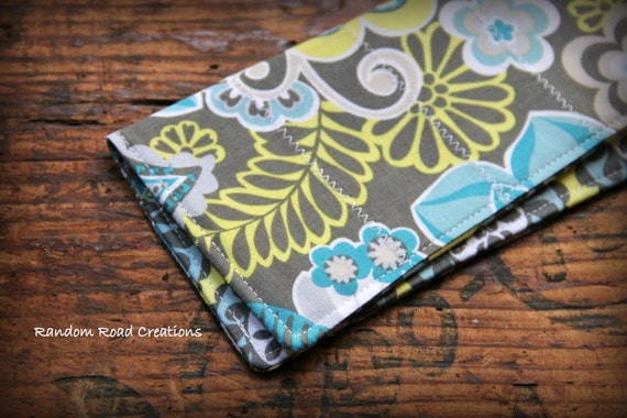 Fabric Cheque Book Cover ~ Fabric checkbook cover turquoise grey yellow and light