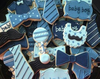 Christol and Co Custom Cookies -Made to Match Coordinating Cookies - Little Mister Collection for Birthday, Baby Shower, Baptismal, Baby